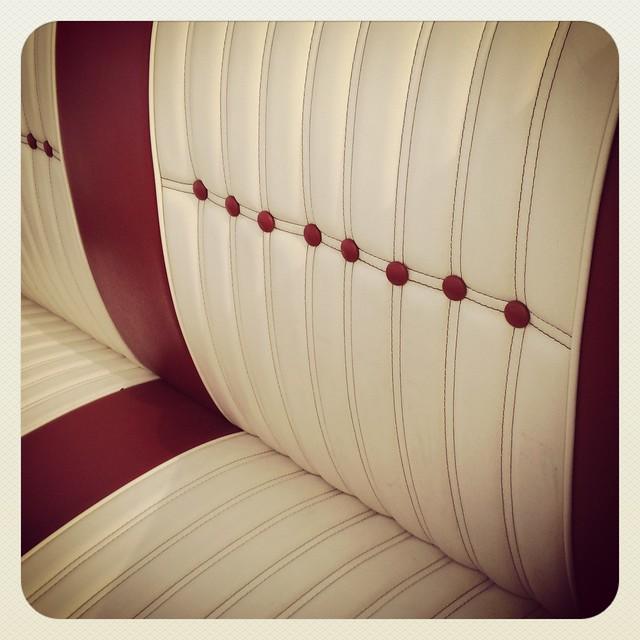 upholstery red white leather custom car show margaret hunt hill bridge