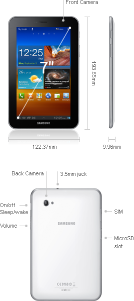 Details of samsung galaxy tab 7.0 plus
