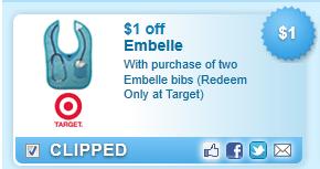 Embelle Bibs (redeem Only At Target)  Coupon