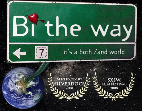 "A green and white highway sign featuring the title ""Bi the Way"" and the subheading ""It's a both/and world."" Below the sign is an image of Earth, and the background is black space with white stars."