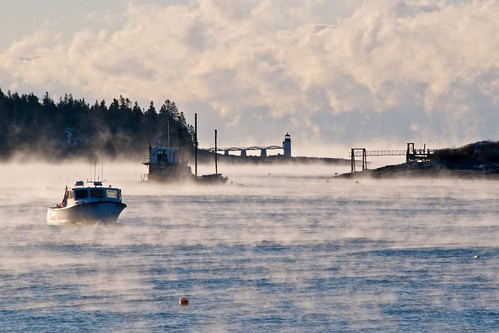 Lighthouse in Sea Smoke by Broot - Thanks for 135,000 views!
