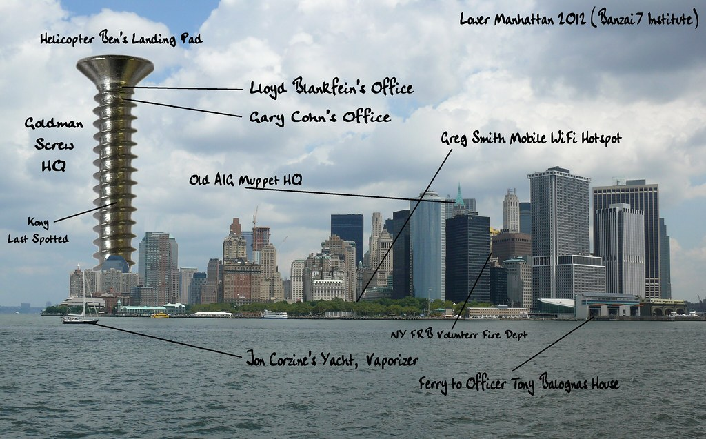 POSTCARD OF LOWER MANHATTAN: GOLDMAN SIGHTS