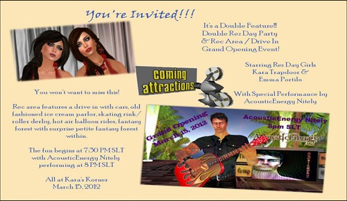 You Are Invited! Grand Opening This Thursday, 3-15-12 at 8PM SLT, AE Sings Live, Come Early and Explore and Play -see next pic for more