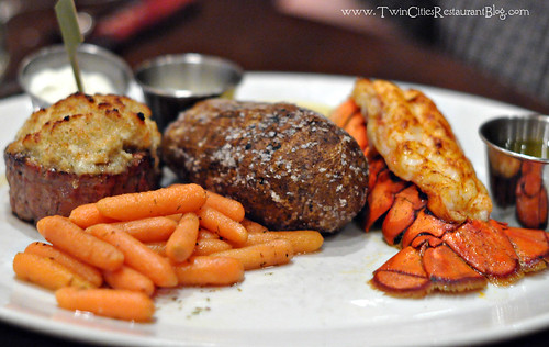 Bleu Cheese Crusted Filet Mignon with Lobster Tail at Mystic Steakhouse ~ Prior Lake, MN