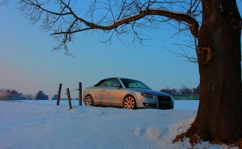 winter sunset snow bavaria a4 audi cabrio 8h