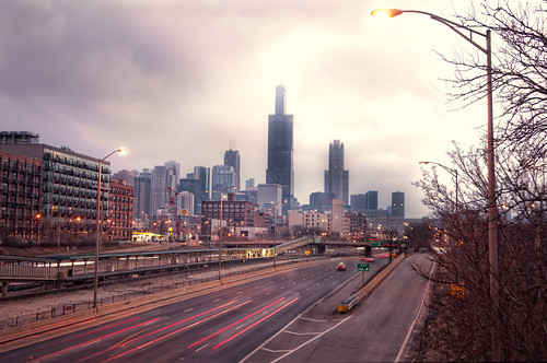 street city morning urban chicago art architecture clouds photoshop sunrise buildings lights midwest colorful downtown traffic dramatic sunny il lighttrails cinematic vividcolors chicagoil windycity d90 fauxfilm nikond90 bryanjaronik