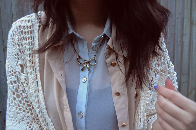 daisybutter - UK Style Blog: what i wore, layers, sheer shirt, topshop, new look, pastels