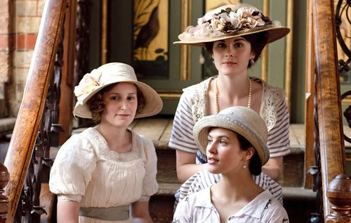 downton abbey sisters on stairs
