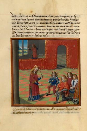 009-Amor recibe el homenaje de Corazon, Deseo y Largueza-fol. 109 v-Le livre du Coeur d'amour épris, par le roi René d'Anjou-1460-BNF