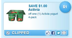 Activia Yogurt 4-pack Coupon