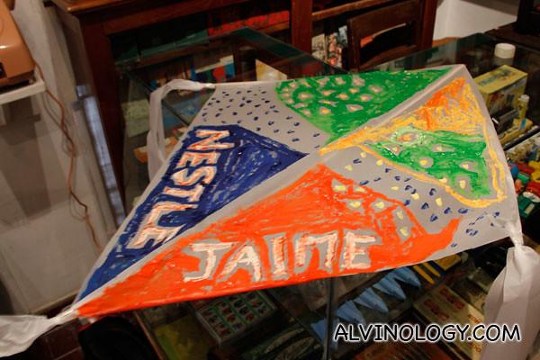 Close-up of Pete and Jaime's kite