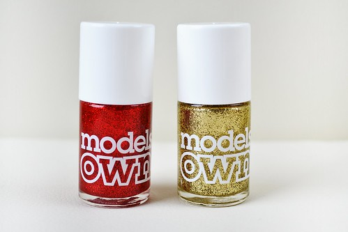 Models own glitter nail polish