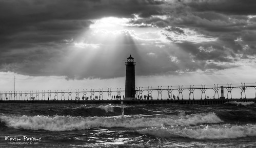 sunset summer bw lighthouse white lake haven black beach water night clouds evening pier michigan wave grand sunbeam llmsmigrandhaven