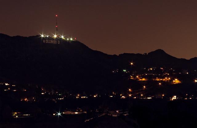 Hollywood Sign At Night   Flickr - Photo Sharing!