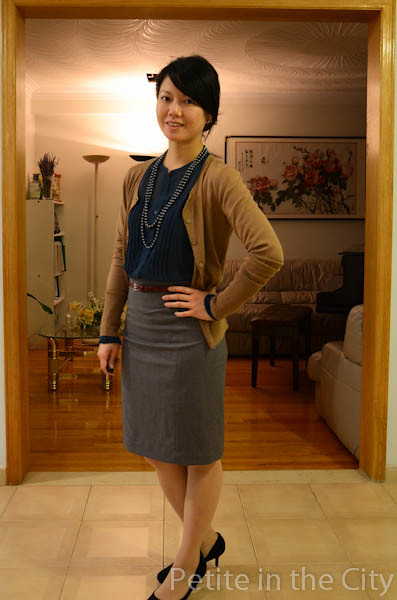 hinge blouse halogen cardigan h&m skirt