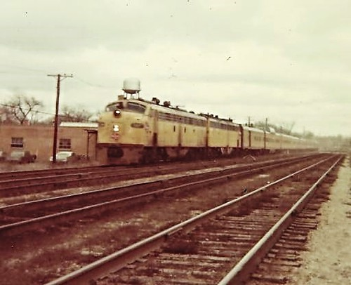 Milwaukee Road  power . E-9's  in Franklin Park  ILL.2/69