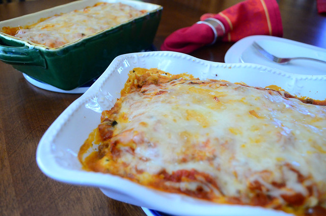 A serving dish with Lasagna For Two.