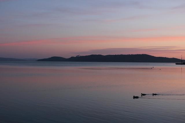 Atardecer en el lago Balaton.