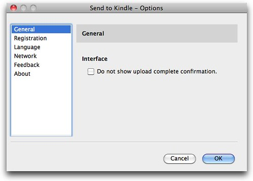 Send to Kindle - Options