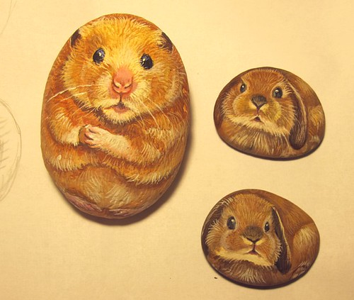 Hamster and two bunnies. Painted stones. by Alika-Rikki
