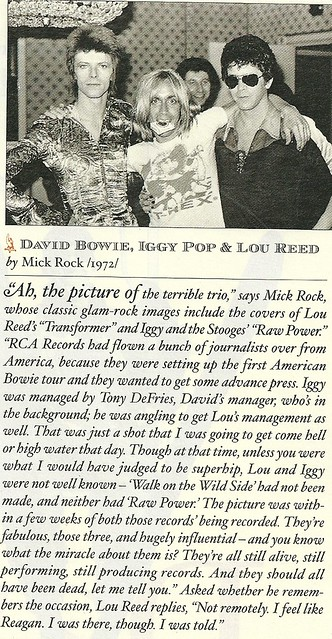 1972 Bowie-Iggy-Reed @ NYC by Mick Rock