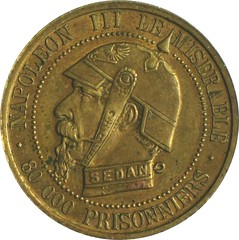 French satirical medal obverse