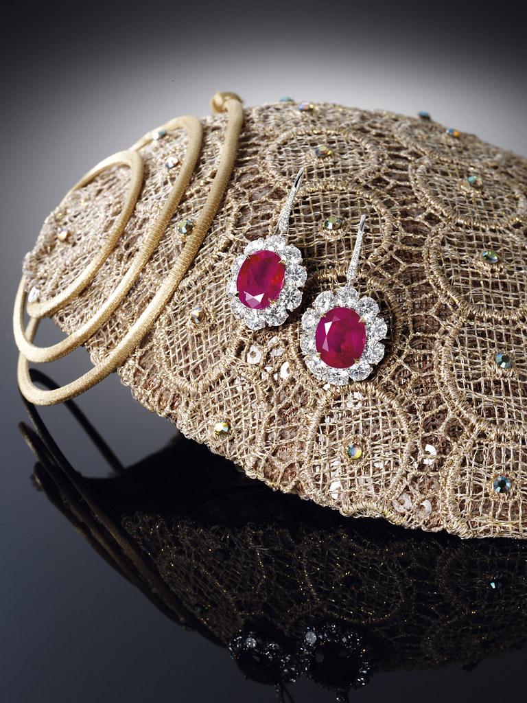 Pair of 12.17 and 10.46 Burmese Ruby and Diamond Pendent Earrings 1.jpg