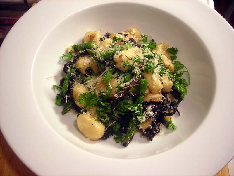 Potato gnocchi, with asparagus and black trumpet mushrooms
