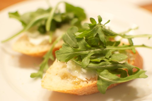 Baguette with Goat Cheese, Honey, and Arugula