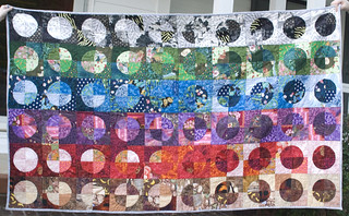 I finished this quilt -- made entirely from scraps -- from before I started documenting my quilts properly. I finally got a photo of it tonight.  Full writeup is at domesticat.net/quilts/discotheque