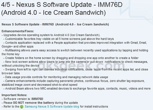 Sprint Nexus S 4G Android 4.0 ICS update