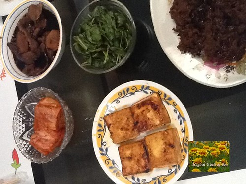 kimchi, korean beef stew, spinach, beef bulgogi, and tofu
