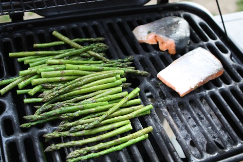 Almost Grilled Asparagus and Salmon