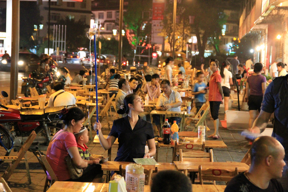 Eating street food on IV therapy