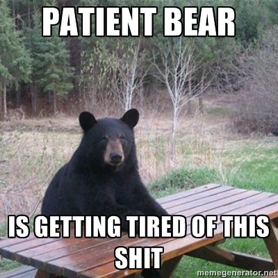 patient bear is tired