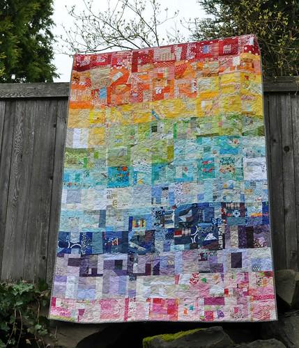 rainbow scrap quilt 1