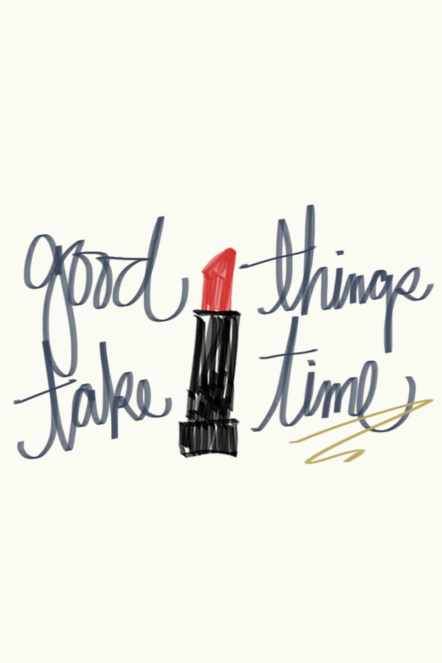hand-drawn lipstick, red lipstick illustration, good things take time, free phone wallpaper, bamboo tablet drawings, dress your tech