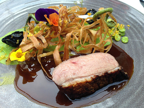 Genmai Tea Smoked Liberty Duck Breast at SPAGO, Beverly Hills