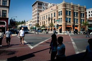 Pedestrian scramble intersection, Colorado Boulevard, Pasadena, California