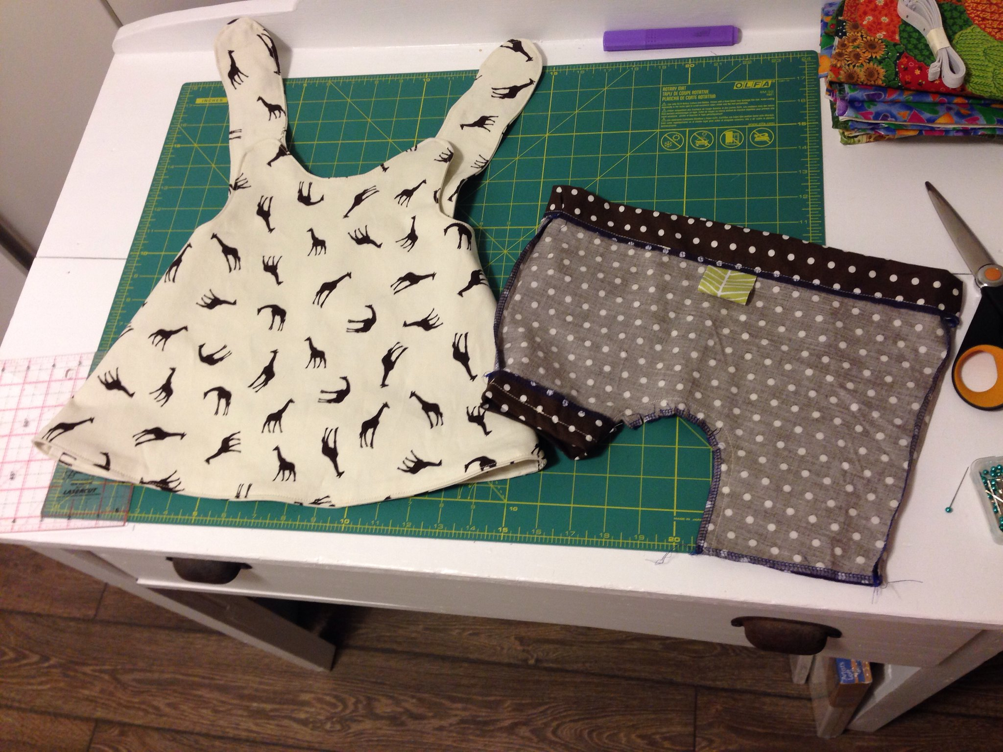 Clothes in progress for Abby.