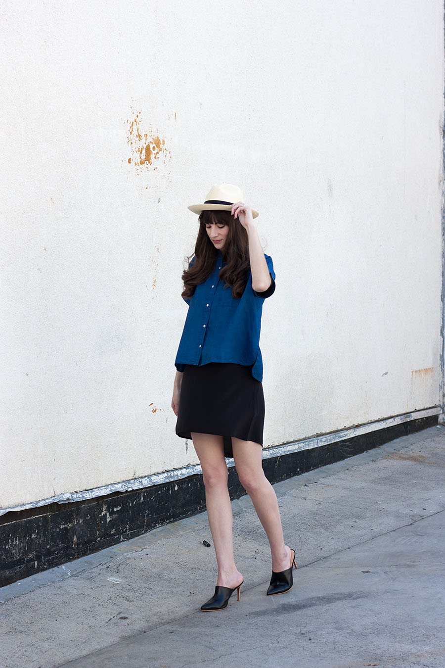 Everlane Linen Shirt, Everlane Silk Dress, Marias Mules, J.Crew Panama Hat, Summer Outfit