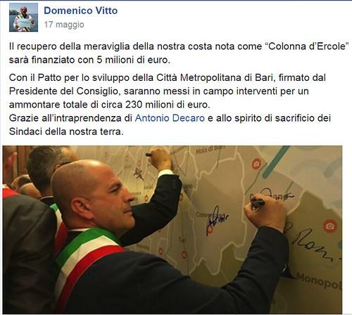 Il post-annuncio Facebook e la firma di Domenico Vitto