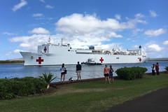In this file photo, USNS Mercy (T-AH 19) departs Pearl Harbor earlier this month. (U.S. Navy/MU1 Pete Sutorius)