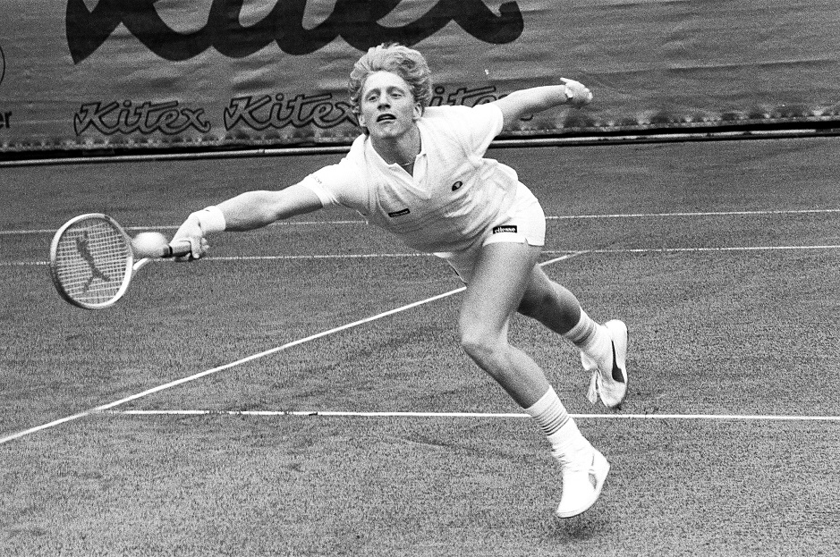 Young Boris Becker playing at the Kitzbühel Tennis Tournament