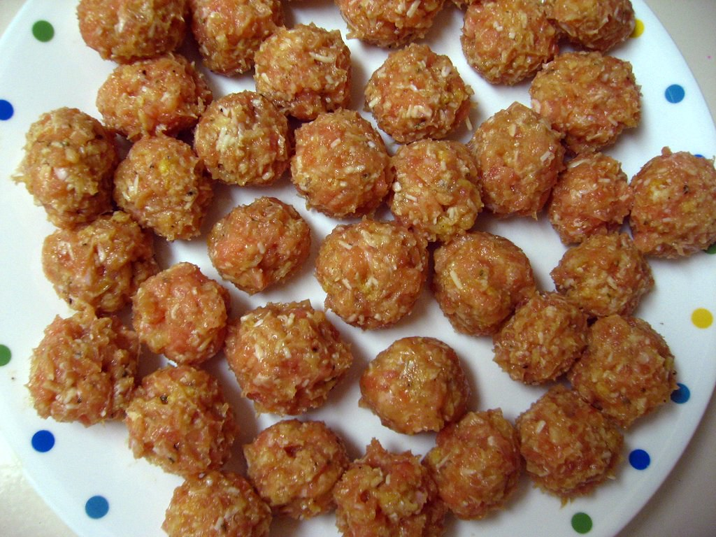 uncooked chicken meatballs