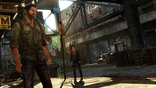 The Last of Us - Joel and Ellie in well lit street