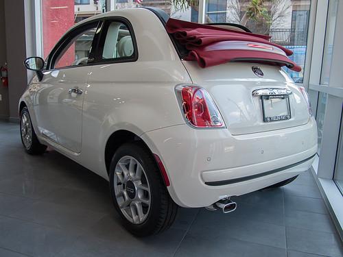 White Fiat 500 Convertable