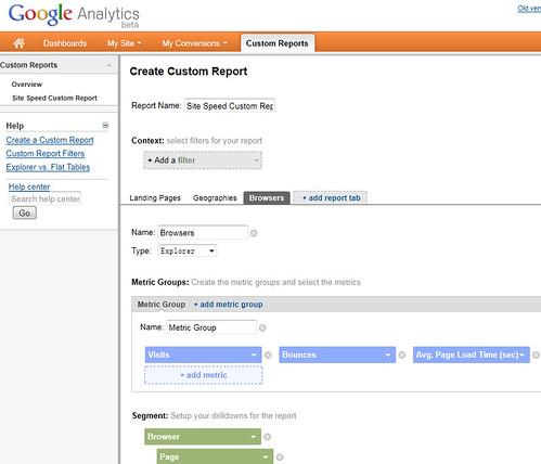 Google Analytics Site Speed custom report-b