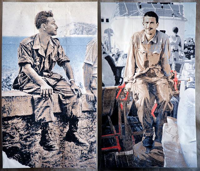 Algérie 1956-1962. Portraits d'appelés réalisés en broderie.