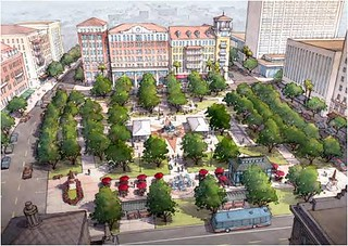 proposed downtown plaza, El Paso (by: Dover Kohl & Partners for Plan El Paso)
